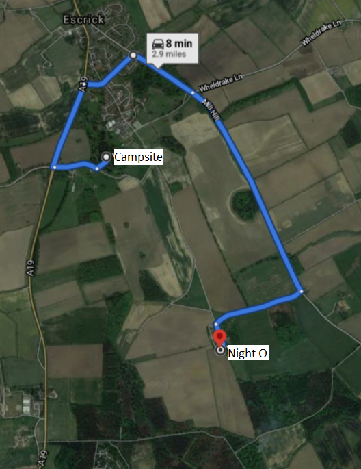 Directions from Campsite to Night O